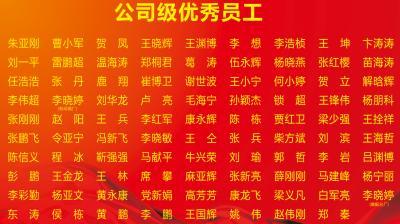 陕西雷竞技下载车辆部件有限公司2014年度优秀员工